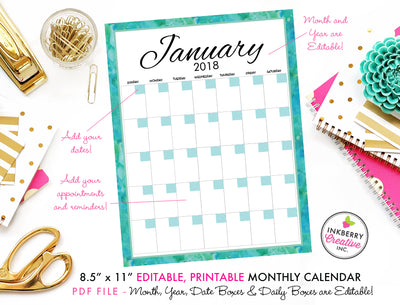 Printable Watercolor Calendar - Editable PDF File, Add Your Own Dates and Text, Aqua, Turquoise, Watercolor, Instant Download Printable Calendar - inkberrycards