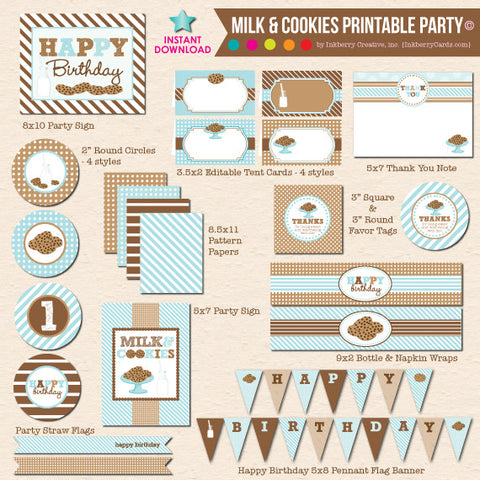 Milk and Cookies Birthday (Boy) - DIY Printable Party Pack