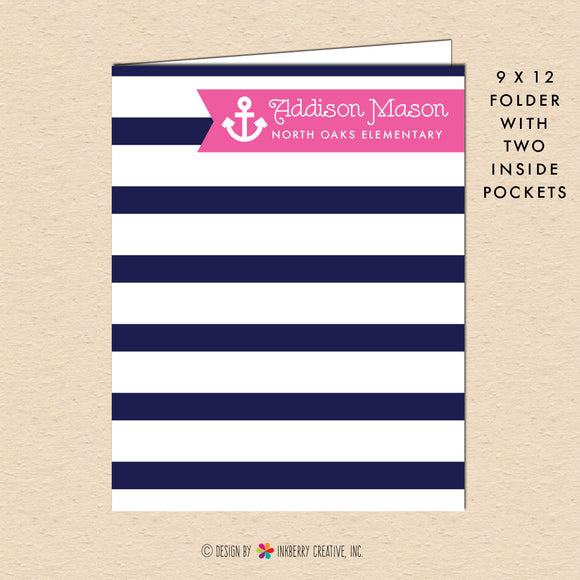 Girl's Nautical Stripe - Navy & Pink - Personalized Pocket Folder - inkberrycards