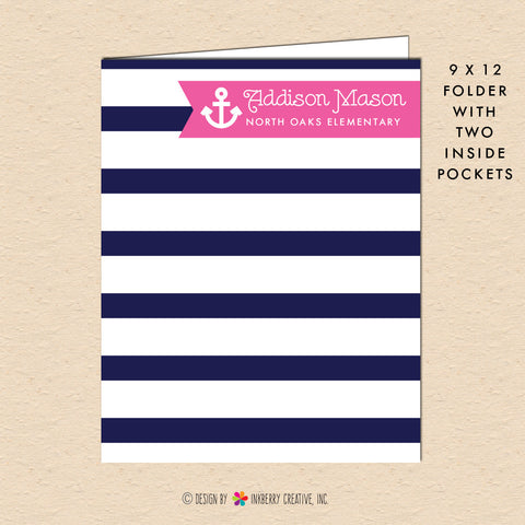 Girl's Nautical Stripe - Navy & Pink - Personalized Pocket Folder