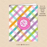 Girl's Spring Plaid - Circle Monogram - Personalized Pocket Folder - inkberrycards