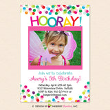 Hooray Colorful Confetti Photo Birthday Invitation - Printable, Instant Download, Editable, PDF