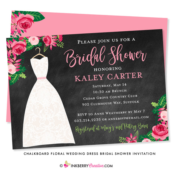 Chalkboard Floral Wedding Dress Bridal Shower Invitation (H) - inkberrycards