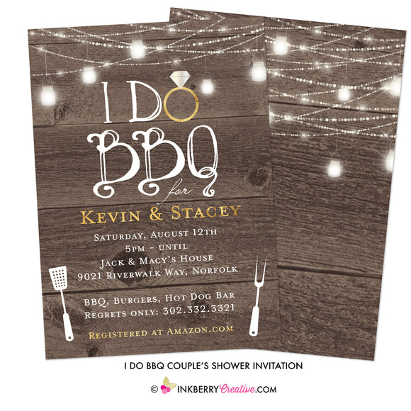 I Do Barbecue - Couples, Coed, Backyard Cookout, BBQ Theme Bridal Shower Invitation - inkberrycards