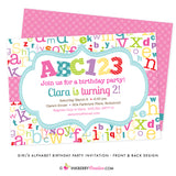 ABC123 Girl's Alphabet Birthday Party Invitation - inkberrycards