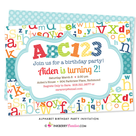 ABC123 Alphabet Birthday Party Invitation - inkberrycards