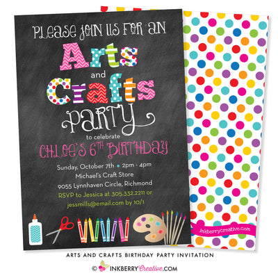Arts and Crafts Birthday Party Invitation - Chalkboard Style - inkberrycards