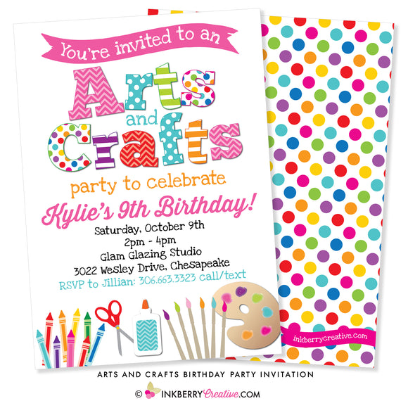Arts and Crafts colorful birthday party invitation