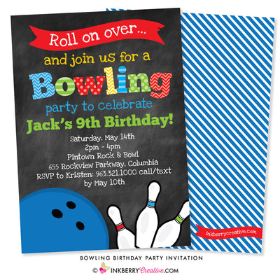 Bowling Birthday Party Invitation - Chalkboard Style - inkberrycards