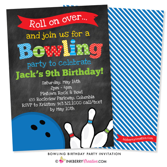 Bowling Birthday Party Invitation - Chalkboard Style