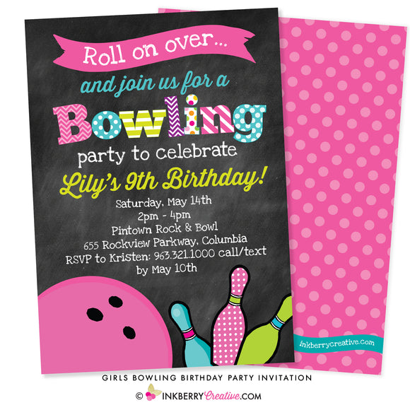colorful girls bowling birthday party invitation on chalkboard background with pink bowling ball