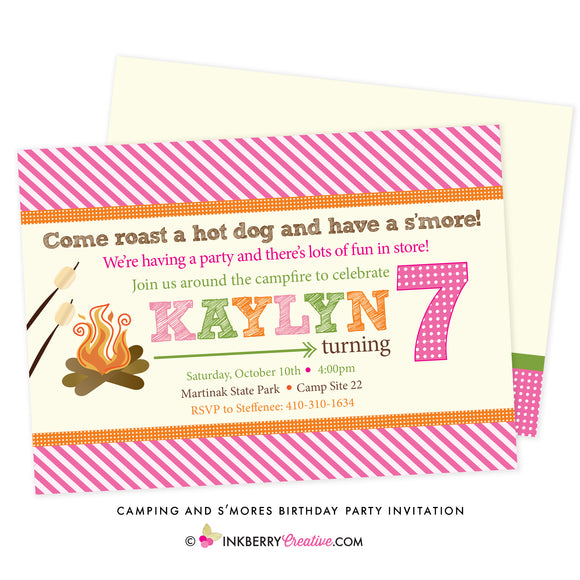 Girls' S'mores & Camping Birthday Party Invitation - inkberrycards