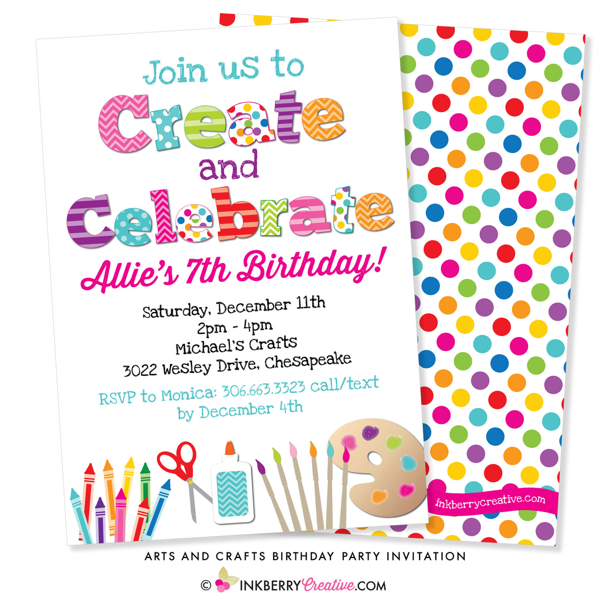 create and celebrate  arts and crafts birthday party