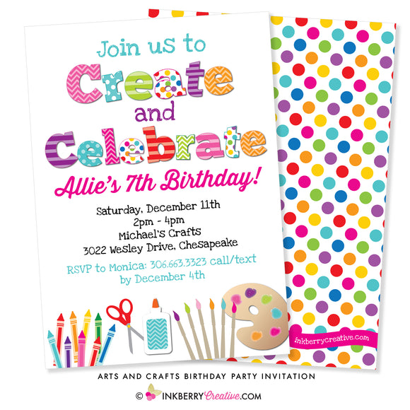 Create and Celebrate - Arts and Crafts Birthday Party Invitation