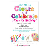 Create and Celebrate - Arts and Crafts Birthday Party Invitation - inkberrycards