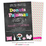 Donuts and Pajamas Party Chalkboard Style Invitation