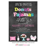 Donuts and Pajamas Party Chalkboard Style Invitation - inkberrycards