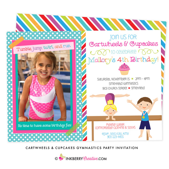 Cartwheels and Cupcakes Boy Girl Gymnastics Party Invitation (Photo Version) - inkberrycards