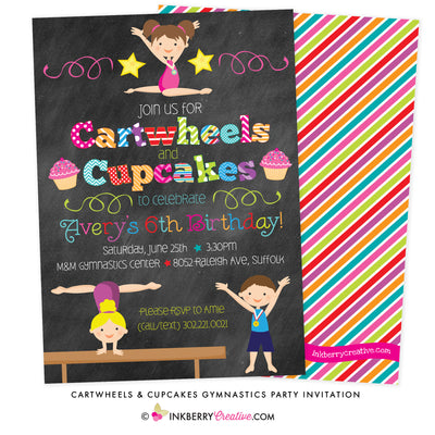 Cartwheels and Cupcakes Chalkboard Style (Boy & Girl) Gymnastics Party Invitation - inkberrycards