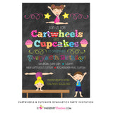 Cartwheels and Cupcakes Chalkboard Style (Boy & Girl) Gymnastics Party Invitation