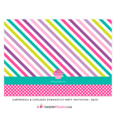 Cartwheels and Cupcakes Girl's Gymnastics Party Invitation