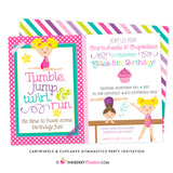 Cartwheels and Cupcakes Girl's Gymnastics Party Invitation - inkberrycards