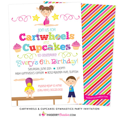 Cartwheels and Cupcakes (Boy & Girl) Gymnastics Party Invitation (White Background) - inkberrycards