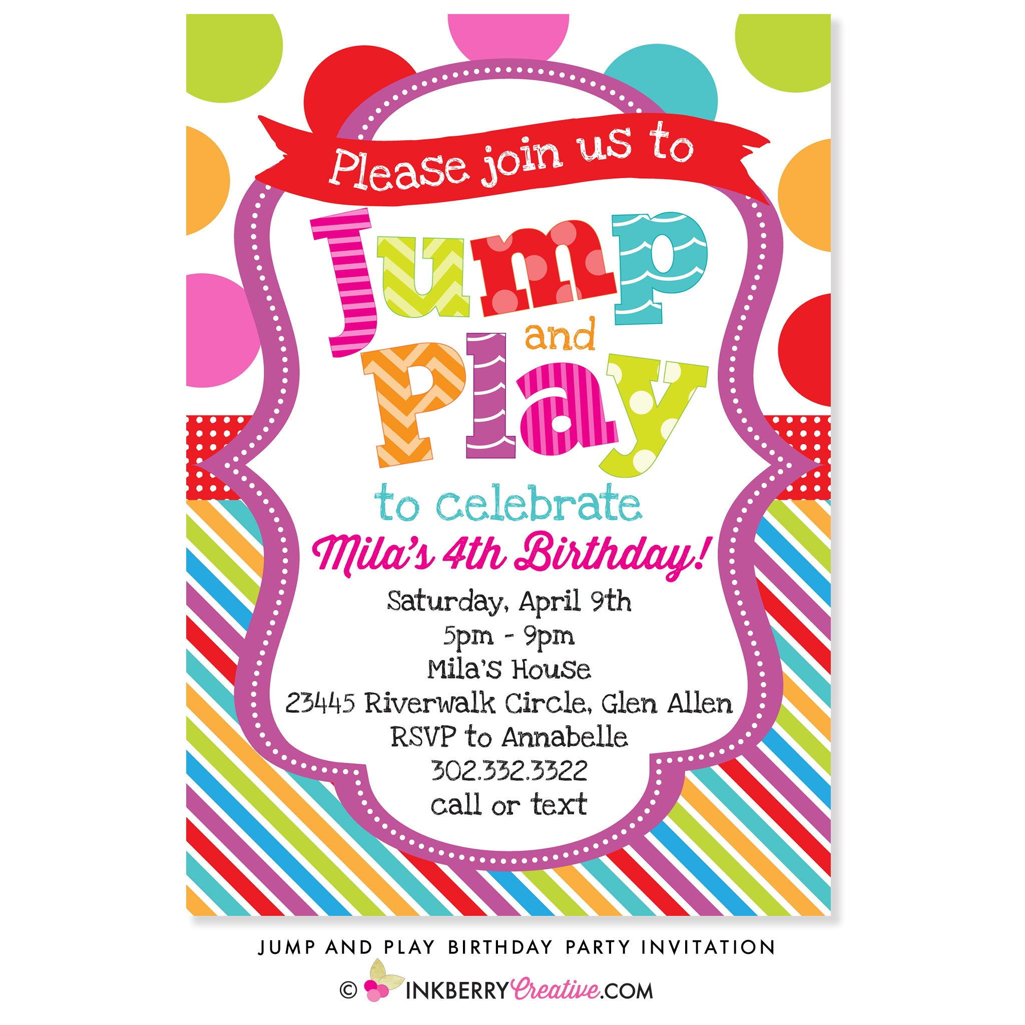 Jump And Play Birthday Party Invitation