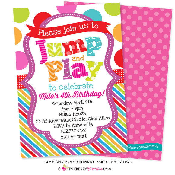 colorful polka dot stripe Jump and Play kids party invitation