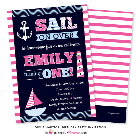 Sail Away Girl's Nautical Birthday Party Invitation
