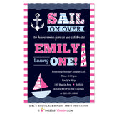 Sail Away Girl's Nautical Birthday Party Invitation - inkberrycards