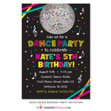 Neon Dance Party Birthday Party Invitation (Black) - inkberrycards