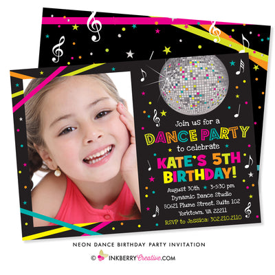 Neon Dance Party Birthday Party Invitation (Black) - with Photo - inkberrycards