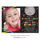 Neon Dance Party Birthday Party Invitation (Black) - with Photo