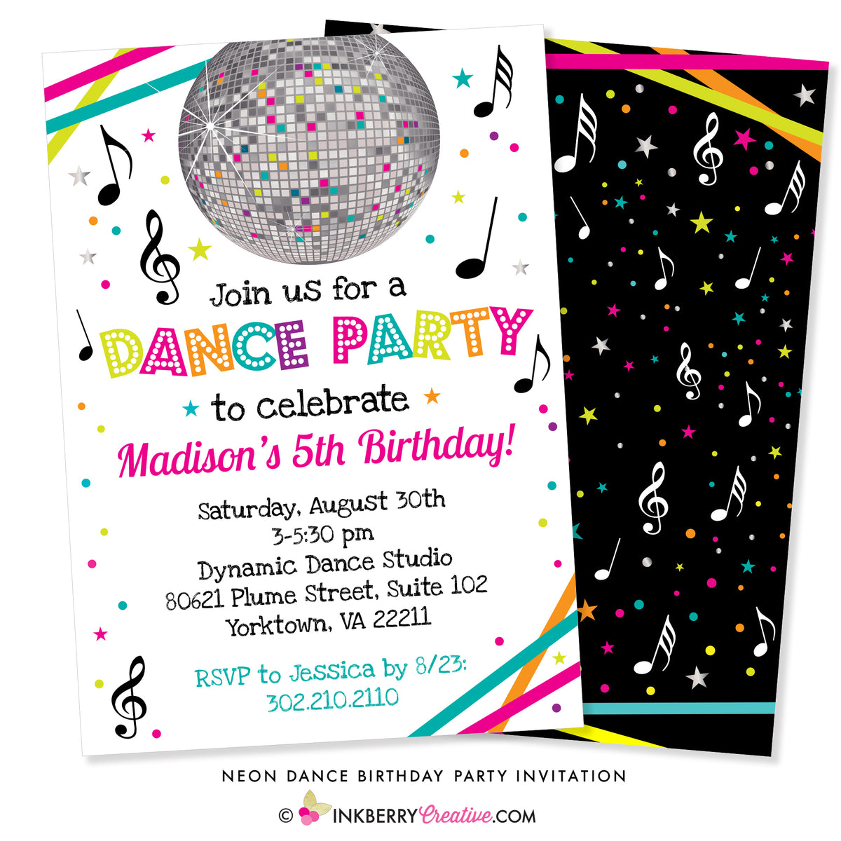 Neon Dance Party Birthday Invitation White Inkberry Creative Inc