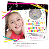 Neon Dance Party Birthday Party Invitation (White) - with Photo - inkberrycards