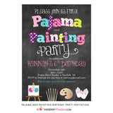 Pajama and Painting Birthday Party Invitation - Chalkboard Style - inkberrycards