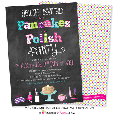 pancakes and polish party invitation on chalkboard background with nail polish and pancake graphics