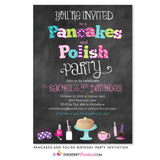 Pancakes and Polish Birthday Party Invitation - Chalkboard Style
