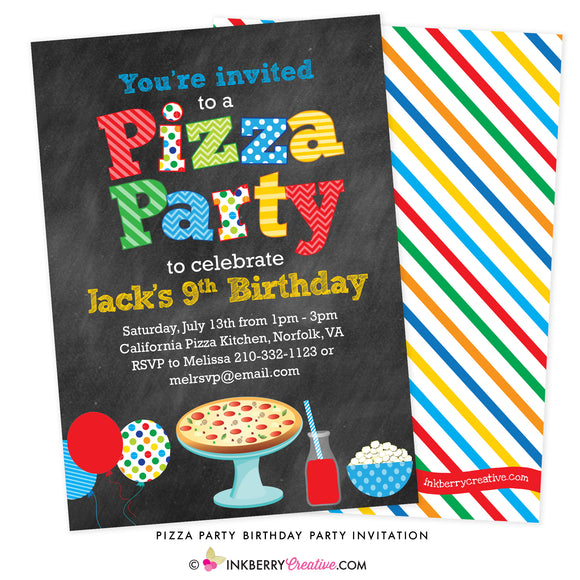 Pizza Party (Primary Colors) Chalkboard Style Invitation - inkberrycards