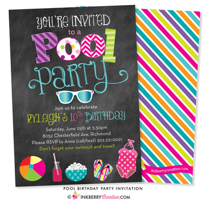 pool party invitation with chalkboard background, bright colors, sunglasses, swimsuit and beach ball graphics