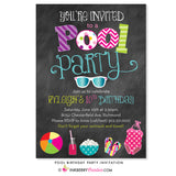 Pool Swimming Birthday Party Invitation - Chalkboard Style