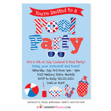 Patriotic Pool Swimming Birthday Party Invitation - Red, White and Blue - July 4th or Memorial Day Pool Party Invitation - inkberrycards