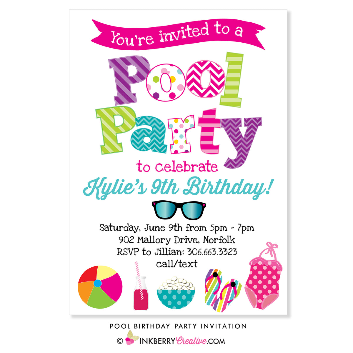 Pool Swimming Birthday Party Invitation Inkberry Creative Inc