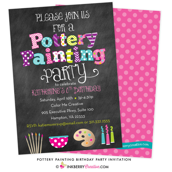 Pottery Painting Party Invitation - Chalkboard Style