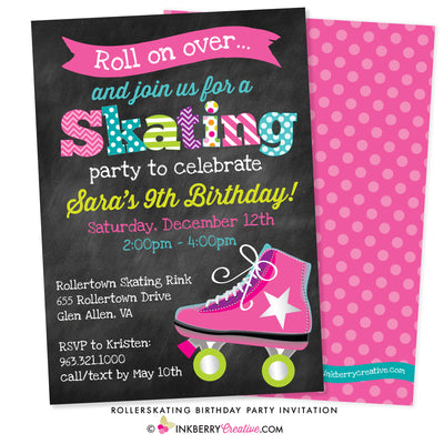 colorful kids party roller skate birthday party invitation on chalkboard background