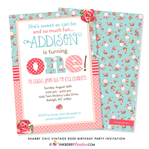 Shabby Chic Vintage Rose First Birthday Party Invitation - inkberrycards