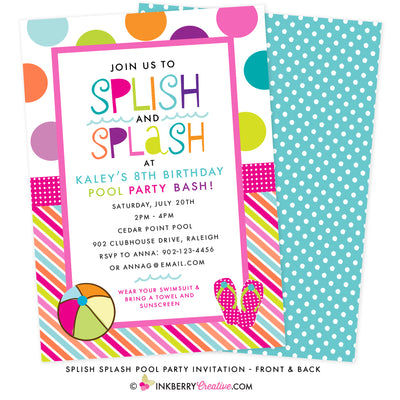 Color Splash Pool Party Invitation (Pink & Aqua) - inkberrycards