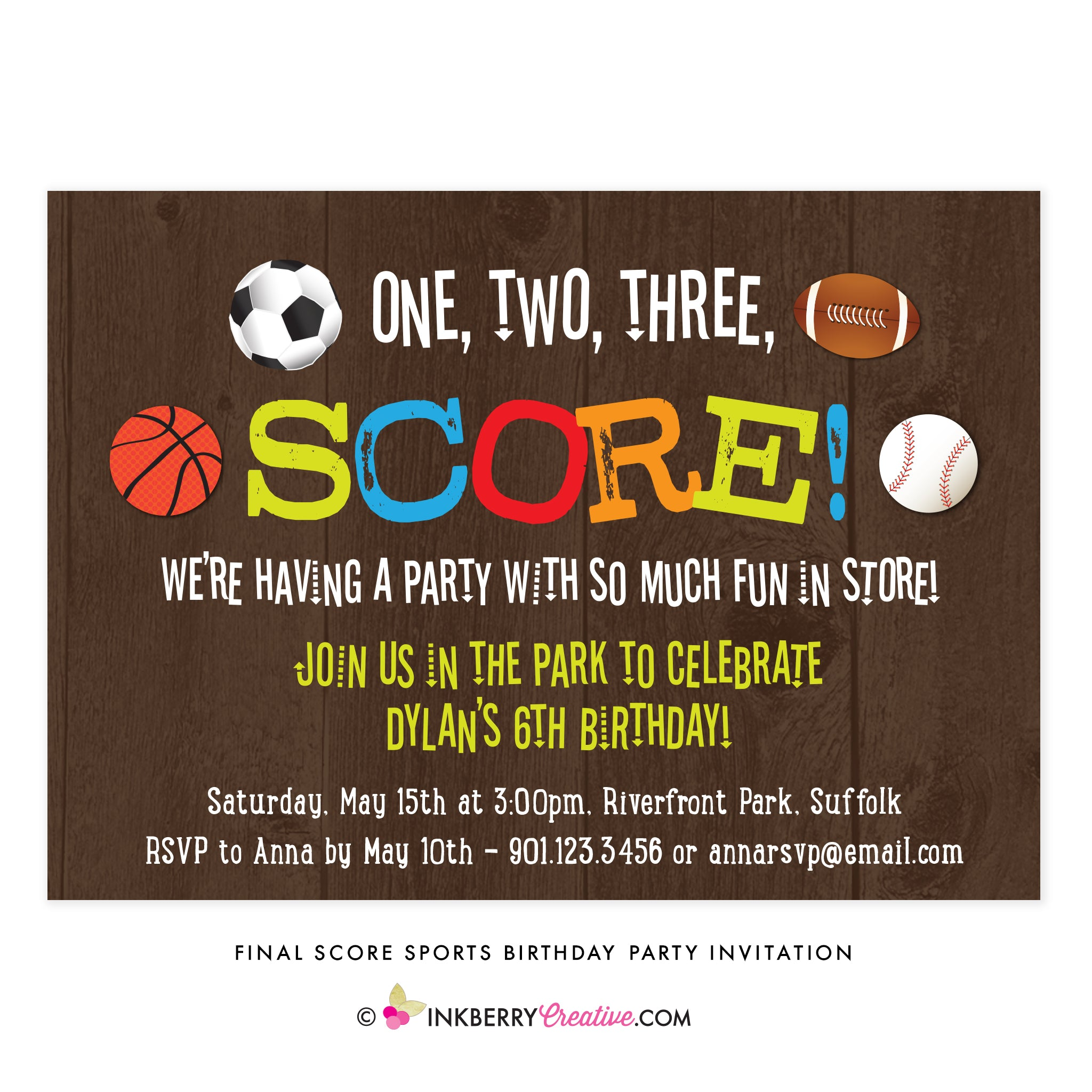 SOCCER FOOTBALL PERSONALISED BIRTHDAY // PARTY INVITATION SON 5 A SIDE