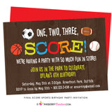 Final Score - Kids Sports Theme Birthday Party Invitation - inkberrycards